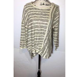 Democracy Striped Tie Front Striped Sweater